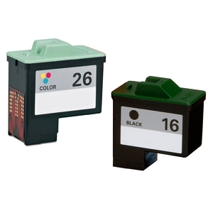 2 Pack Lexmark 16 10N0016 Black 26 10N0026 Tri-Color Remanufactured Inkjet Cartridges