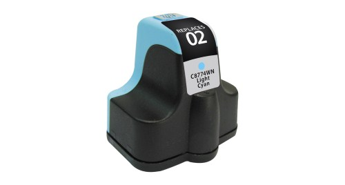 HP 02 C8774WN Light Cyan Inkjet Cartridge PhotoSmart 3110, 3210, 3310, 8250, C5100, C7200, D7100, D7400