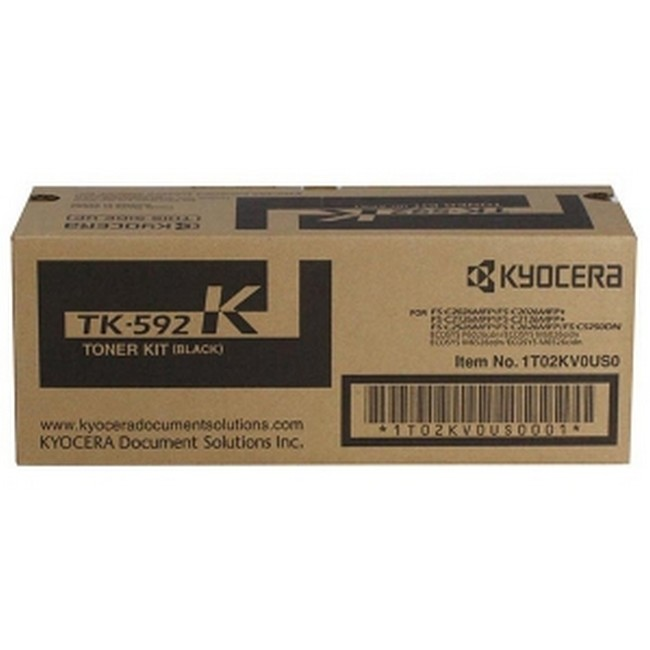 Brand New Original Kyocera Mita TK-592 1T02KV0US0 TK592K Black Toner Cartridge FS-C2026, C2126, C5250