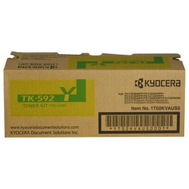 Brand New Original Kyocera Mita TK-592 1T02KVAUS0 TK592Y Yellow Toner Cartridge FS-C2026, C2126, C5250