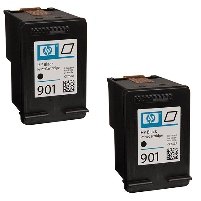 2 Pack HP 901 CC653AN Black Inkjet Cartridge OfficeJet 4500, G510, J4524,  J4525, J4540, J4680