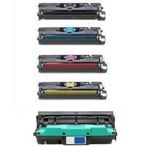 5 Pack HP 122A Color LaserJet 2550, 2820, 2840 Laser Toner Cartridges and Drum Unit