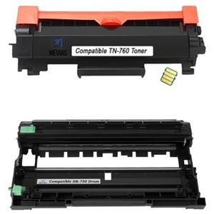 2 Pack Brother TN760 DR730 Laser Toner Cartridge and Drum Unit