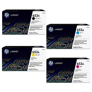 4 Pack Brand New Original HP 653A Color LaserJet Enterprise MFP M680z, M680dn, M680f High Yield Toner Cartridges