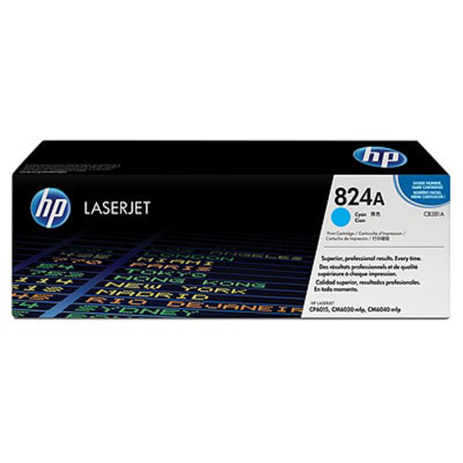 Brand New Original HP 824A CB381A Cyan Laser Toner Cartridge Color LaserJet CM6030, CM6040, CP6015
