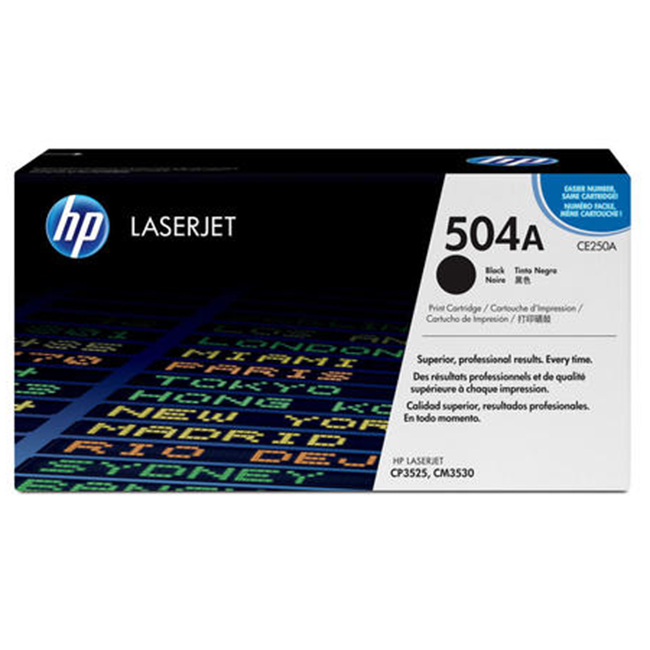 Brand New Original HP 504A CE250A Black Laser Toner Cartridge Color LaserJet CM3530, CP3525, CP3530