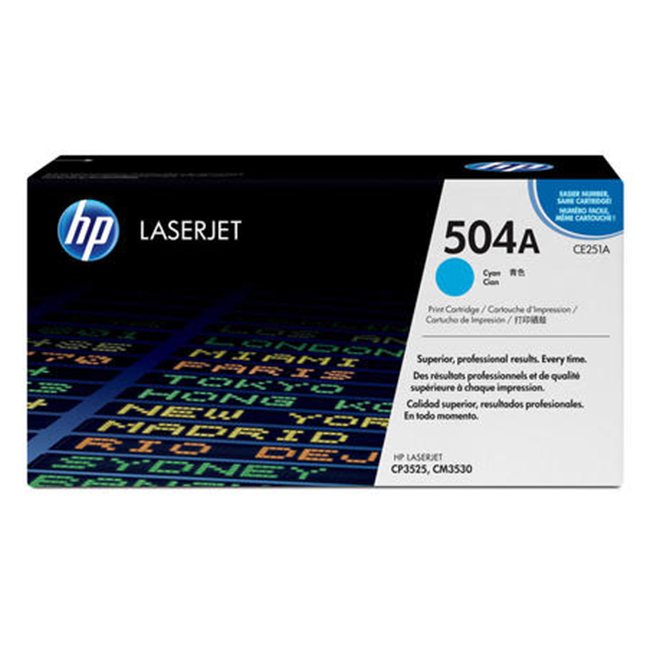Brand New Original HP 504A CE251A Cyan Laser Toner Cartridge Color LaserJet CM3530, CP3525, CP3530