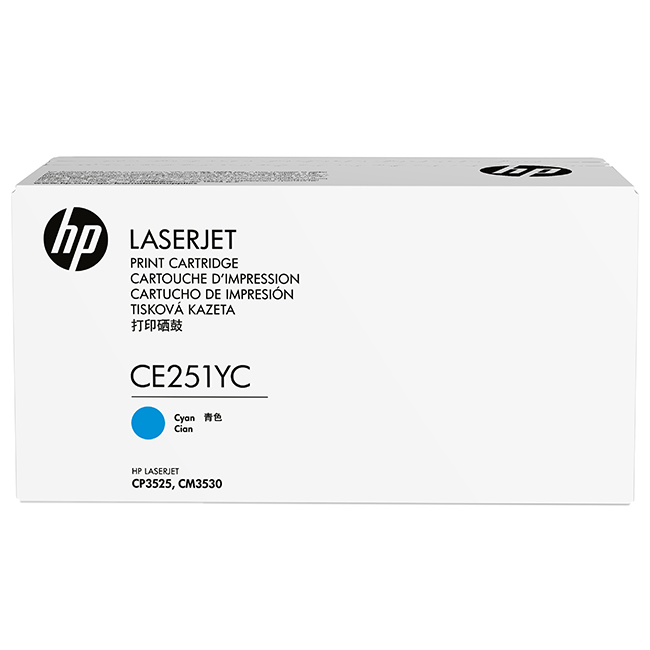 Brand New Original HP 504A CE251YC Cyan Optimized Contract Toner Cartridge Color LaserJet CM3530, CP3525, CP3530