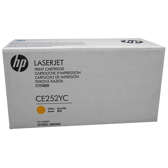 Brand New Original HP 504A CE252YC Yellow Optimized Contract Toner Cartridge Color LaserJet CM3530, CP3525, CP3530