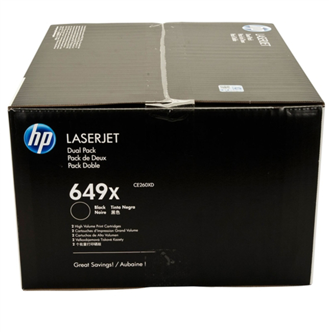 2 Pack Brand New Original HP 649X CE260XD Black High Yield Toner Cartridge Color LaserJet CP4525