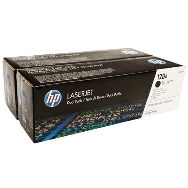 2 Pack Brand New Original HP 128A CE320AD Black Toner Cartridge Color LaserJet CP1525nw, Pro CM1415fnw, Pro CP1525nw