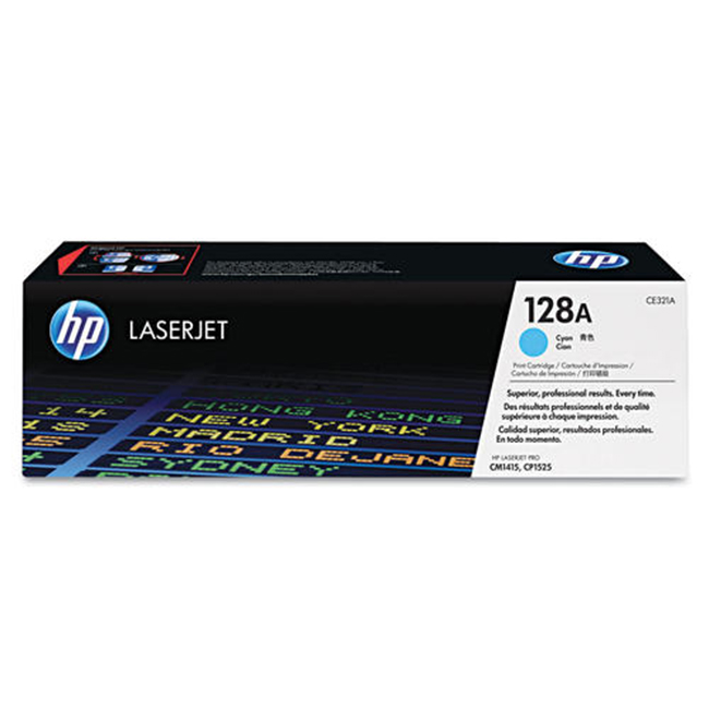 Brand New Original HP 128A CE321A Cyan Toner Cartridge Color LaserJet CP1525nw, Pro CM1415fnw, Pro CP1525nw
