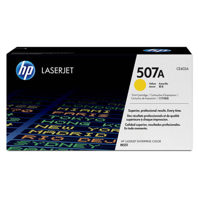 Brand New Original HP 507A CE402A Yellow Toner Cartridge LaserJet Enterprise 500 Color M551, MFP M575, M570dn