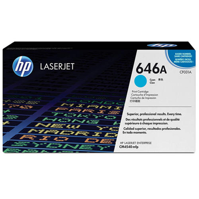 Brand New Original HP 646A CF031A Cyan Toner Cartridge Color LaserJet Enterprise CM4540, CM4540f, CM4540fskm MFP