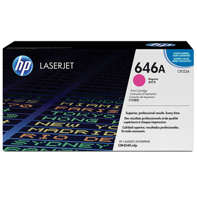 Brand New Original HP 646A CF033A Magenta Toner Cartridge Color LaserJet Enterprise CM4540, CM4540f, CM4540fskm MFP
