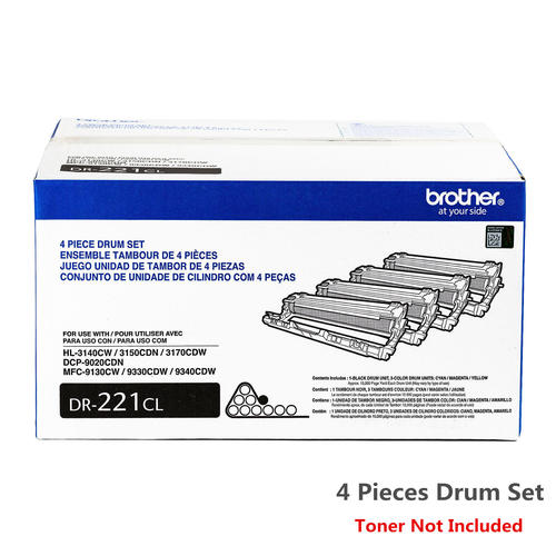 4 Pack Brand New Original Brother DR-221CL DR221CL CMYK Drum Unit