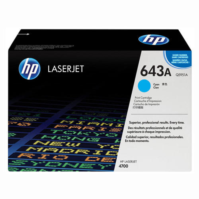 Brand New Original HP 643A Q5951A Cyan Toner Cartridge LaserJet 4700, 4700PH Plus