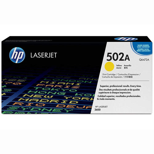 Brand New Original HP 502A Q6472A Yellow Toner Cartridge Color LaserJet 3600