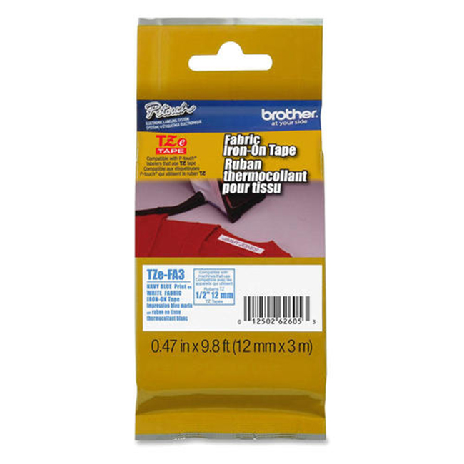 Brother TZe-FA3 Original Fabric Iron-on Label Tape, 12mm (0.47