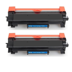 2 Pack Brother TN760 TN-760 TN730 TN-730 Black High Yield Laser Toner Cartridge with Chip
