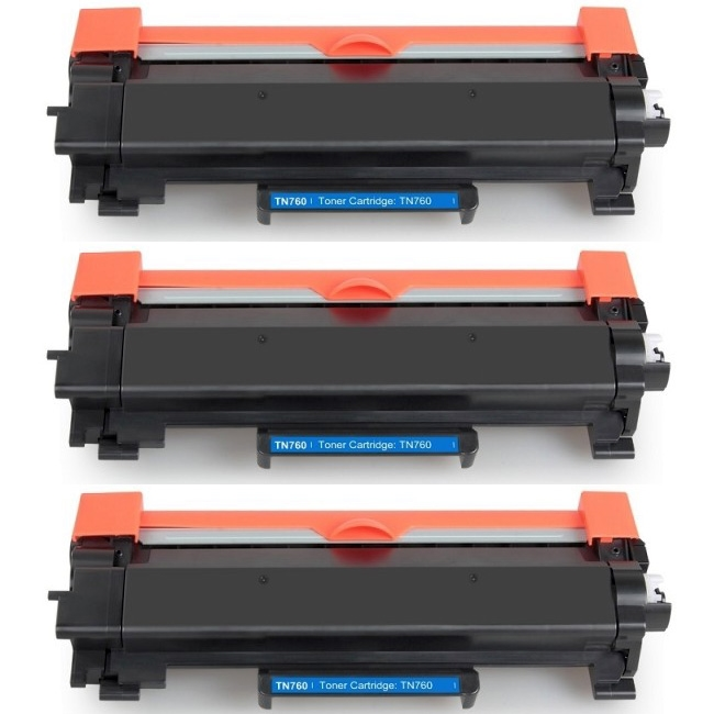 TN760 Toner Cartridge For Brother DCPL2550DW HLL2350DW MFCL2710DW MFCL2730DW 3PK