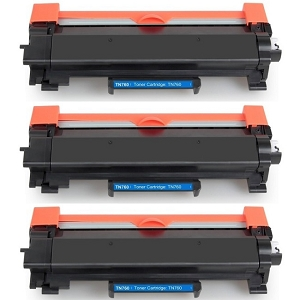 3 Pack Brother TN760 TN-760 TN730 TN-730 Black High Yield Laser Toner Cartridge with Chip