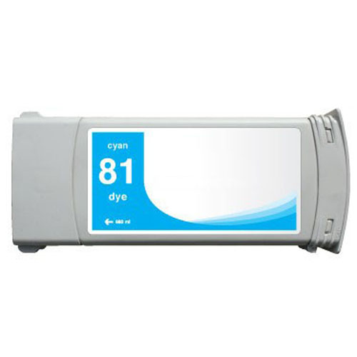 HP 81 C4931A Cyan Remanufactured Inkjet Cartridge DesignJet 5000, 5000 Dye, DesignJet 5500, 5500 Dye