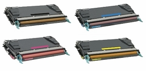 4 Pack Lexmark C5242 KH/CH/MH/YH C524, C532, C534 Compatible High Yield Toner Cartridges