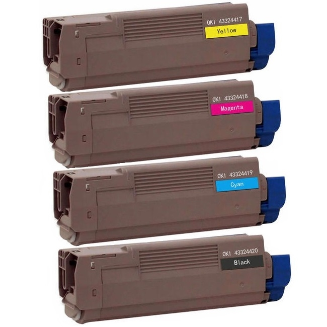 4 Pack Okidata Type C8 C5550, C6100 Compatible Toner Cartridges