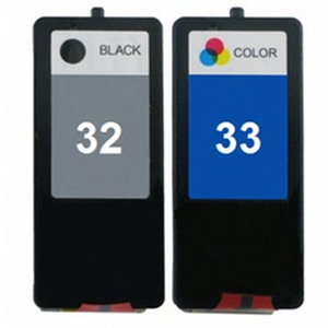 2 Pack Lexmark 32 33 18C0032 Black 18C0033 Tri-Color Inkjet Cartridges