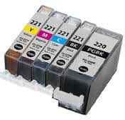 5 Pack Canon PGI-220BK CLI-221 PIXMA MP980, PIXMA MP990 Inkjet Cartridges