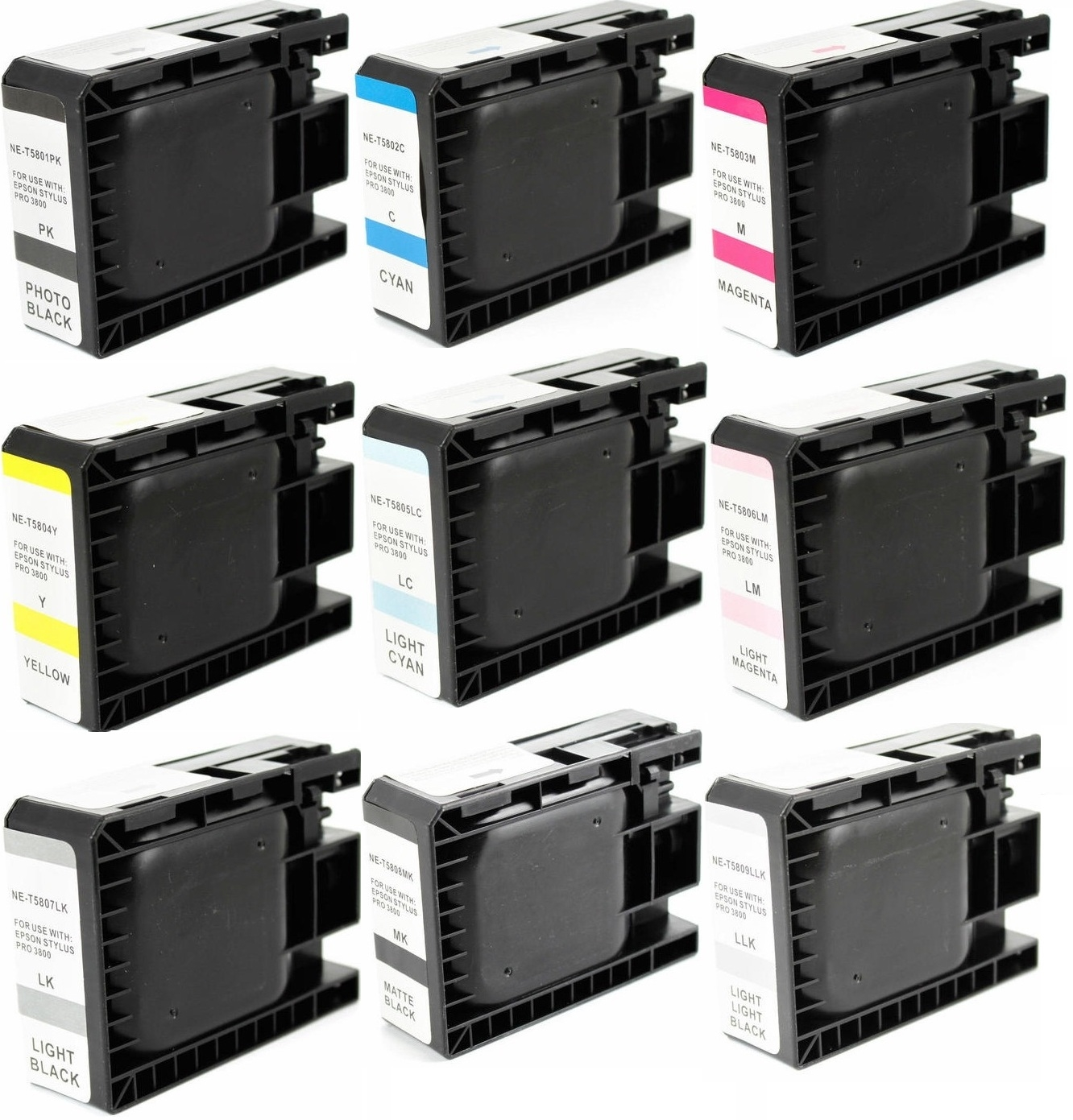9 Ink Cartridges T580 Combo (T5801 - T5809) For Epson Stylus Pro 3800