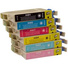 Epson T048 6 pack Combo set of 6 Colors Inkjet Cartridge Epson Stylus Photo R200- R220- R300- R320- R340- RX500- RX600- RX620
