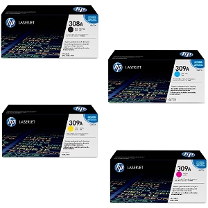 4 Pack Brand New Original HP 308A Black and 309A C/M/Y LaserJet 3500, 3500N, 3550, 3550N Toner Cartridges