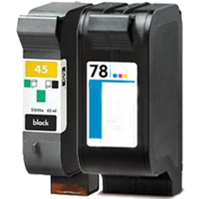 2 Pack HP 45 51645A Black HP 78 C6578A Remanufactured Inkjet Cartridges