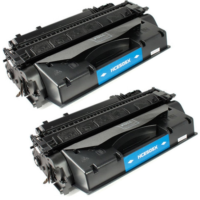 2 Pack CE505X 05X High Yield Black Toner Cartridge For HP LaserJet P2055dn P2055