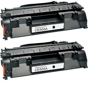 2 Pack HP 05A CE505A Black Laser Toner Cartridge LaserJet P2035, P2055
