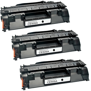 3 Pack HP 05A CE505A Black Laser Toner Cartridge LaserJet P2035, P2055