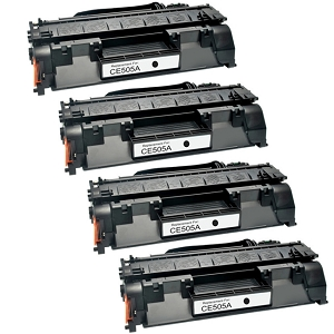 4 Pack HP 05A CE505A Black Laser Toner Cartridge LaserJet P2035, P2055