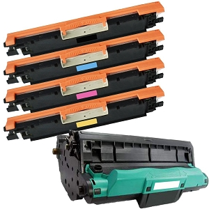 5 Pack HP 130A CE314A  Color LaserJet Pro MFP M176N, M177FW, M177FX Laser Toner and Drum Cartridges