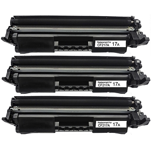 3 Pack HP 17A CF217A Black Laser Toner Cartridge with Chip LaserJet Pro M102, M130, M130NW