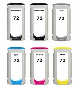 6 Pack HP 72XL DesignJet T1100, T1120, T1200, T1300, T2300, T610, T620, T770, T790, T795 High Yield Remanufactured Inkjet Cartridges