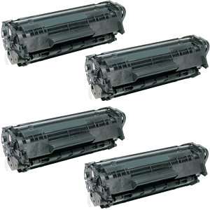 4 Pack HP 12X Q2612X Black High Yield Laser Toner Cartridge LaserJet 1010, 1012, 1018, 1020, 1022, 3015, 3020, 3030, 3050, 3052, 3055, M1319