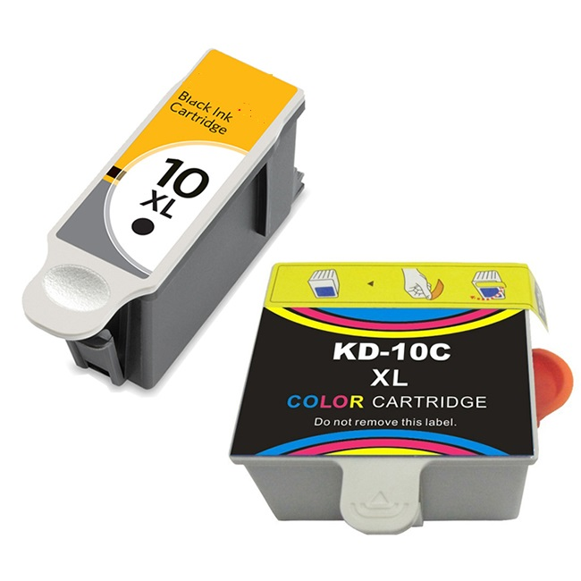 2 Pack Kodak 10XL 8965 Black 8966 Color Compatible High Yield Ink Cartridges