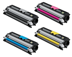 4 Pack Konica Minolta A0V30 MagiColor 1600W, 1650EN, 1680MF, 1690MF High Yield Laser Toner Cartridges