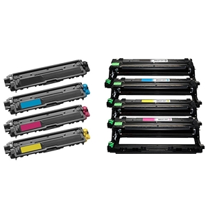 8 Pack Brother TN221 TN-225 TN225 High Yield Laser Toner Cartridges and DR221 Laser Drum Units