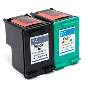2 Pack HP 74 CB335WN Black HP 75 CB337WN Tri-Color Remanufactured Inkjet Cartridges