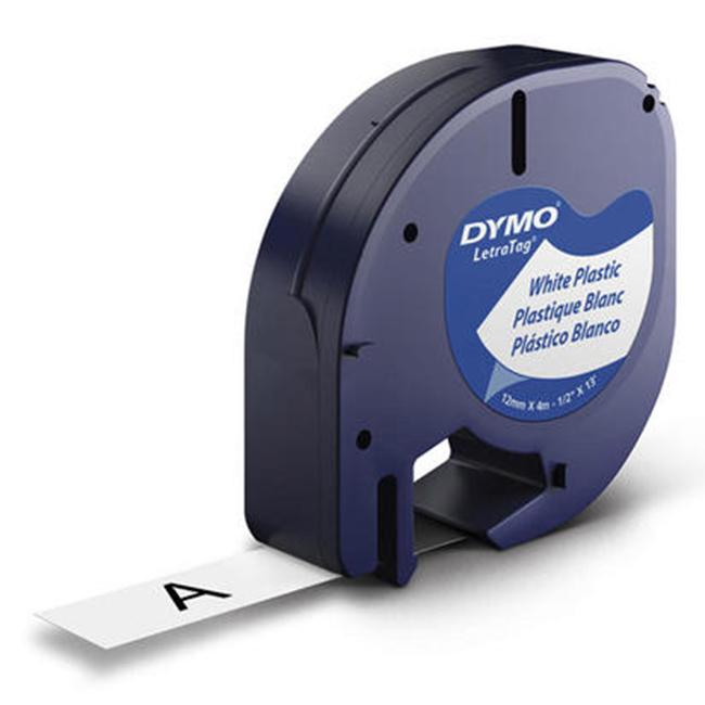Compatible Dymo LETRATAG plastic labels 12mm x 4m black on blue label tape