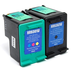 2 Pack HP 92 C9362WN Black HP 93 C9361WN Tri-Color Remanufactured Inkjet Cartridges
