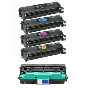 5 Pack HP 121A Color LaserJet 1550, 1500L, 2500, 2500L, 2500TN Laser Toner Cartridges and Drum Unit